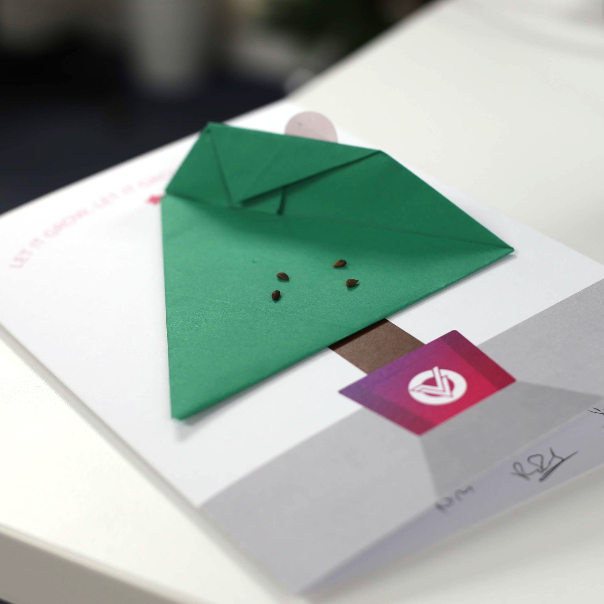 Plantable Christmas card - origami seed pocket